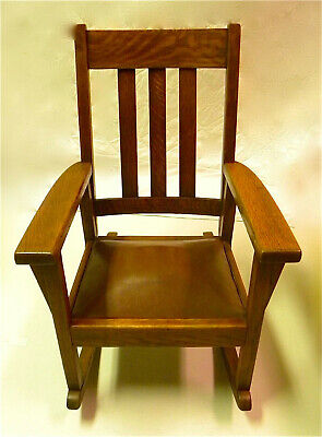 "Antique MISSION STYLE Oak CHILD'S 24"" ROCKING CHAIR"