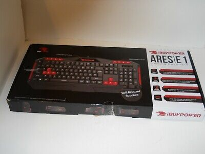 48877736cea iBuyPower ARES E1 gaming Spill Resistant keyboard Black Red new open box