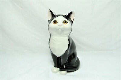 Just Cats & Co Cat Figure with Glass Eyes, Handpainted Staffordshire Pottery