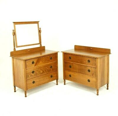Antique Vanity, Antique Dresser, Beveled Mirror, Tiger Oak, Scotland 1930, B847
