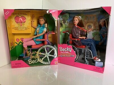 Barbie Becky Wheelchair Lot Of 2 Share A Smile & I'm The School Photographer NIB