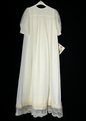 New Vintage Christening Gown & Hat Bonnet Beautiful Lace Overlay on Bodice