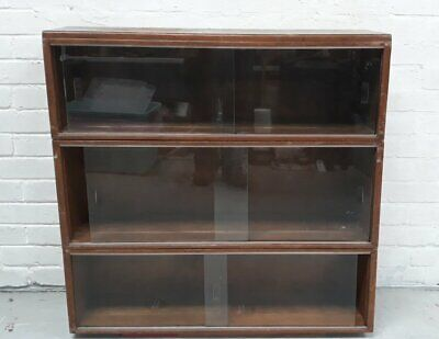 A/F Three Sections Of Vintage Minty Oak Stacking Bookcase In Need Of Restoration