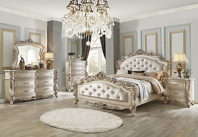 DAPHNE Traditional Antique White 5 pieces Marble Bedroom Set w. Queen Fabric Bed