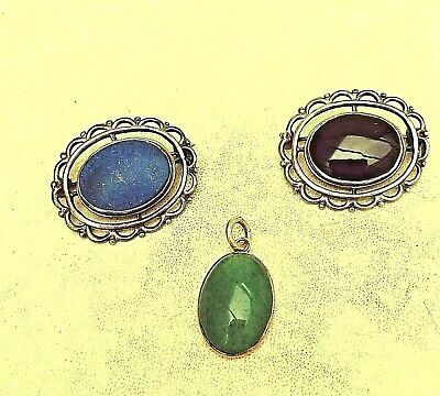 Vintage Gemstone Brooches X 2 And 1 Silver & Green Stone Pendant