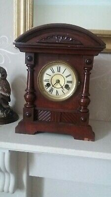 Antique-H.A.C-Ornate Corinthian Style14 Day Pendulum Mantle Clock-GWO-circa 1900