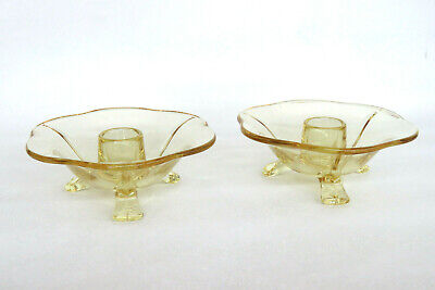 Fostoria Fairfax Style Topaz Yellow Glass Pair of Candle Stick Holders 1039B