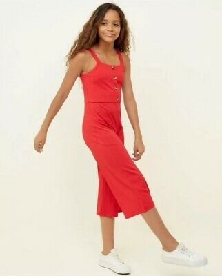 New Look - 915 Girls Red Button Front Culotte Jumpsuit - Age 9 Years - BNWT