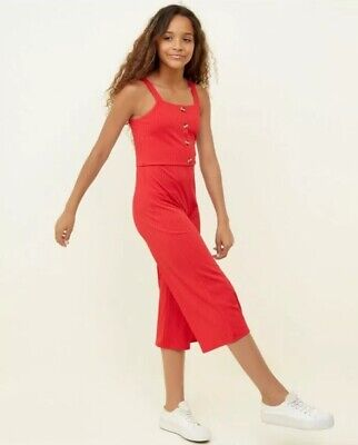 New Look - 915 Girls Red Button Front Culotte Jumpsuit - Age 10-11 Years - BNWT