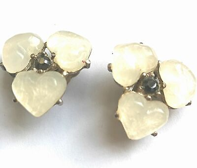 Vintage Gripoix Crystal Cabochon Earrings
