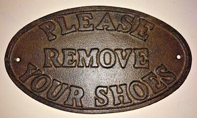"""""""Please Remove Your Shoes"""" Sign Oval Plaque cast iron metal Brown patina finish"""