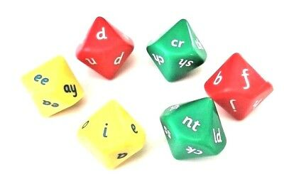 Large 25mm Phonics Dice: 6 x 10 Sided Dice Educational Resource