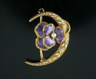 Vintage Estate Victoria 14K Gold Pearl Purple Flower Crescent Moon 3D Pin Brooch