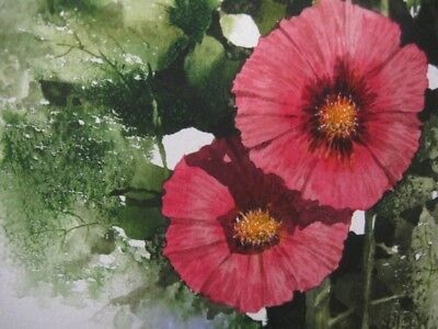 Vintage Hollyhock Watercolor Framed Painting Pink Red Signed Trudeau