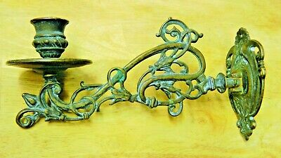 Vtg Antique MCM Deco Old Brass Candle Holder Metal Great Patina Wall Sconce