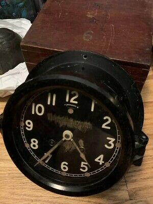 Antique US Maritime Commission Chelsea Ships Bell Clock 6 Black Brass Dial Work.