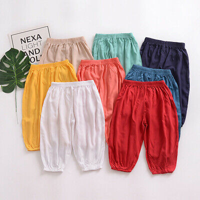 Toddler Kids Girls Boys Long Solid Pants Casual Anti-Mosquito Trousers Clothes