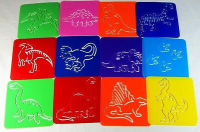 Plastic Stencil- Dinosaurs (1 set in 12 different designs) for home, school, etc