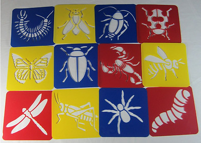 Plastic Stencil - Insect (1 set in 12 different designs) for home, school, etc