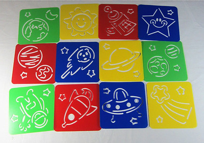 Plastic Stencil - Space (1 set in 12 different designs) for home, school, etc