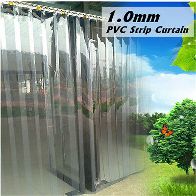 PVC Plastic Strip Curtain Freezer Room Door Strip Kit Hanging !