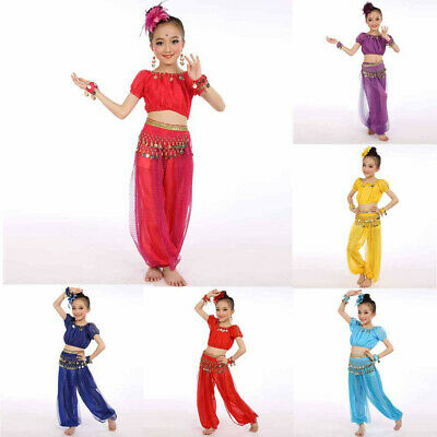 Toddler Kids Baby Girl Sequins Lace Tulle Tops Pants Dance Costumes Belly Dance
