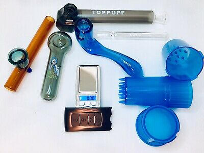 Glass Pipe Tobacco Pipe Hookah Pipe Smokers Kit Herb Grinder 7 Item Lot