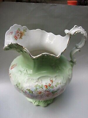 Gorgeous Antique  Green Wedgwood Pottery Large Jug Pitcher Floral Design C1900's