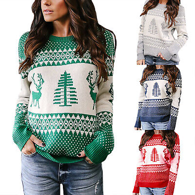 Womens Christmas Knit Long Sleeve Sweater Xmas Jumper Sweatshirt Pullover Tops