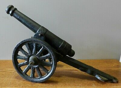 """Antique cast iron metal Toy Cannon with 10"""" long Barrel 16"""" overall length"""
