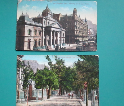 Pair Of Rare Vintage Coloured Postcards, Depicting Cape Town, South Africa