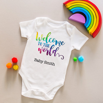 Personalised baby grow vest boys girls name rainbow bodysuit baby shower gift