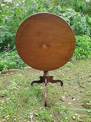 Tilt Top Table Antique Inlay & Tiger Strip Grain as-is DELIVERY is AVAILABLE