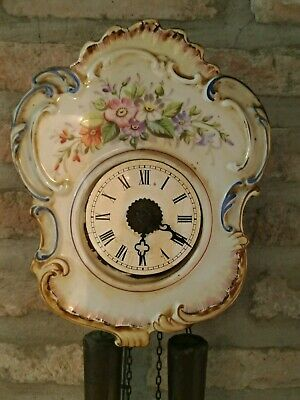 Clock Pendulum Antique Wooden and Ceramic