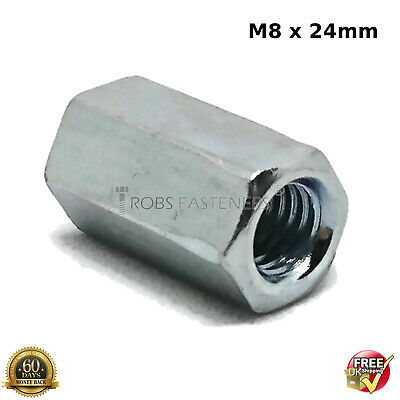 HEX CONNECTION NUTS M8 8mm HEXAGON CONNECTOR ROD BAR STUD LONG NUT ZINC PLATED