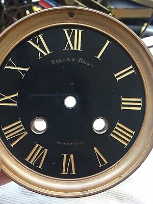"Antique Roehm & Wright Beveled Glass Clock Crystal Bezels & Dial 5.75"" Diameter"