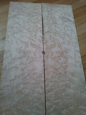 "2 pieces birdseye maple veneer 30"" x 5 1/4"" each Luthier raw wood flame flat"