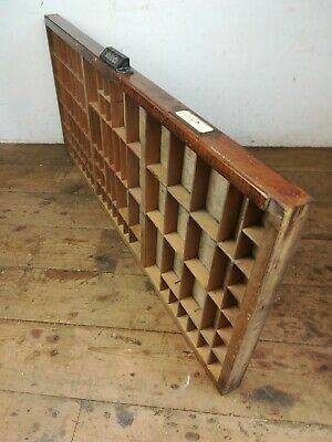 Vintage CASLOW Printers tray wall display case iron handle old