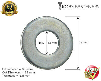 M6 6mm PENNY REPAIR MUDGUARD WASHERS FLAT WIDE THICK ZINC PLATED DIN 440