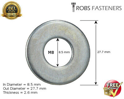 M8 8mm FLAT WIDE THICK ZINC PLATED PENNY REPAIR MUDGUARD WASHERS DIN 440