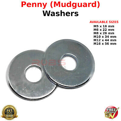 6mm PENNY REPAIR MUDGUARD WASHERS BRIGHT ZINC PLATED BZP FS1524 M6 x 30mm