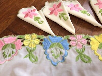 *Tablecloth & 7 Napkins OpenWork/Applique Flowers/Embroidery 55x84 Pink Yellow