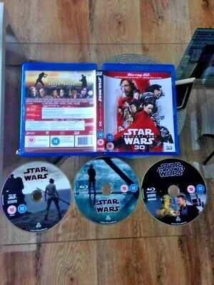 Star Wars The Last Jedi (3-D & 2D) 3 Disc Blu-Ray . Watched Once Mint