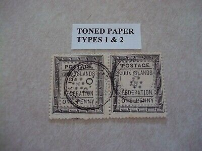 COOK ISLANDS Stamps SG 1 Scott 1 PAIR Sub Types 1+2 Fine Used