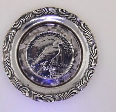 """Antique Tiffany & Co Sterling Silver 3"""" Plate With Sliver Coin"""