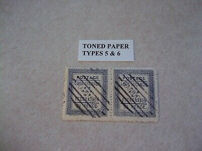 COOK ISLANDS Stamps SG 3 Scott 3 Toned Paper Sub Types 5+6 Scarce A 4 Cancels