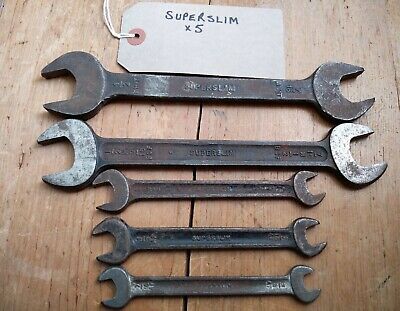 Vintage SUPERSLIM Spanners Collection x 5, various sizes: good vintage condition
