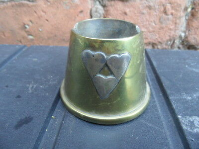 Vintage Brass    ASHTRAY POT  Heart Decoration   Arts & Crafts or TRENCH ART?