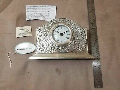 Vintage Handcrafted Brass Clock On View Home Gorgeous Rare Unique Shells Flowers