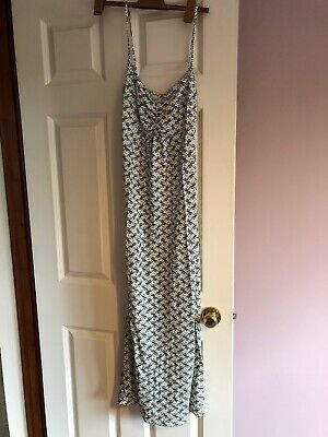 Ladies Size 10 Blue Green Swirl Circle Maxi Dress Brand New Without Tags